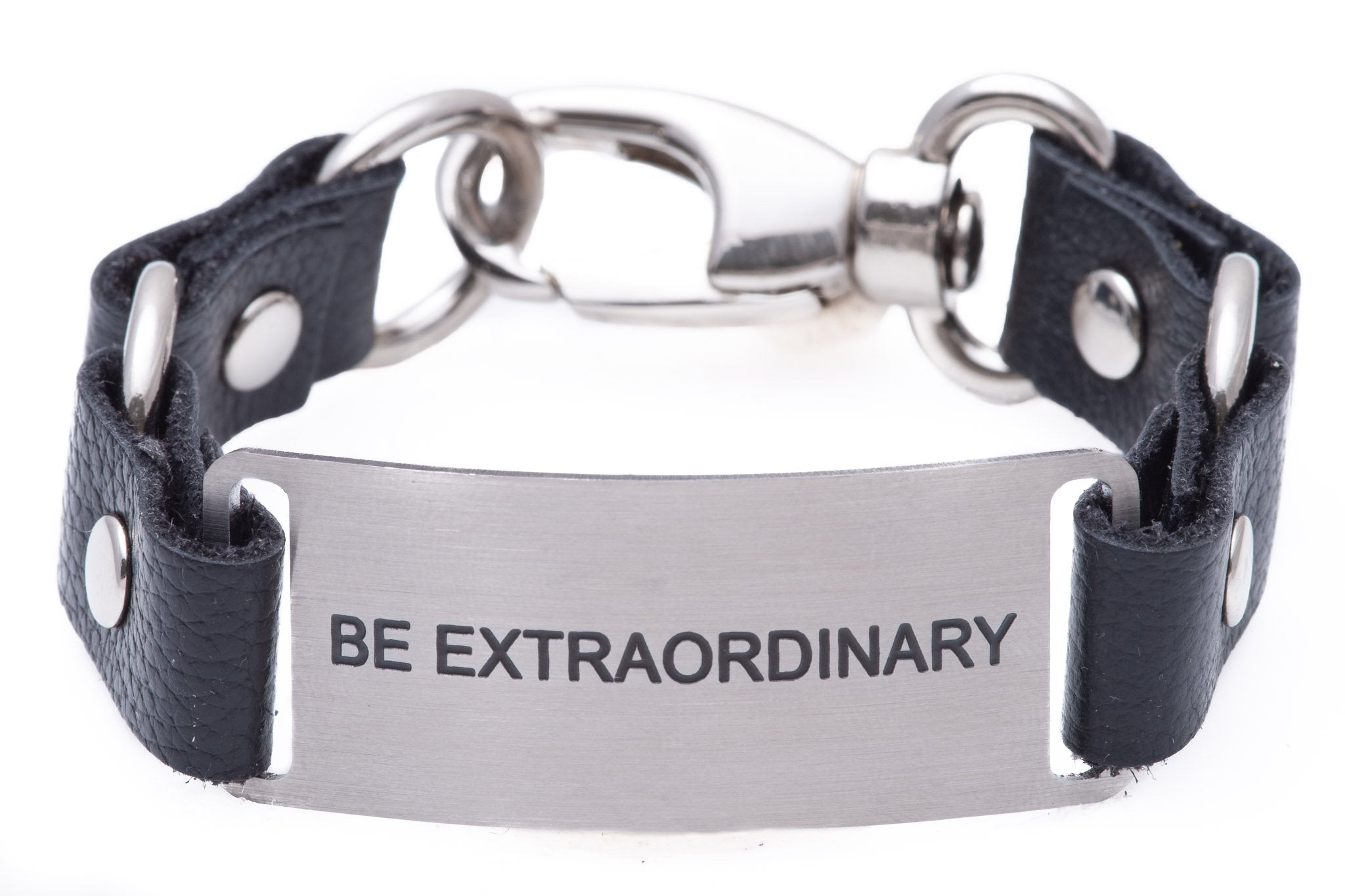 Load image into Gallery viewer, Message Bracelet Black Leather Be Extraordinary