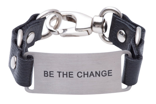Message Bracelet Black Leather Be The Change