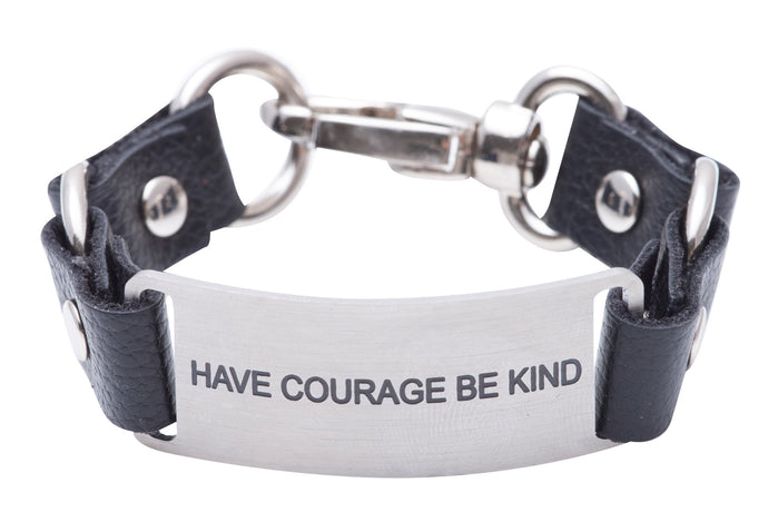 Message Bracelet Black Leather Have Courage Be Kind