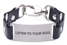 Load image into Gallery viewer, Message Bracelet Black Leather Listen To Your Soul