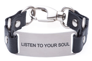 Message Bracelet Black Leather Listen To Your Soul