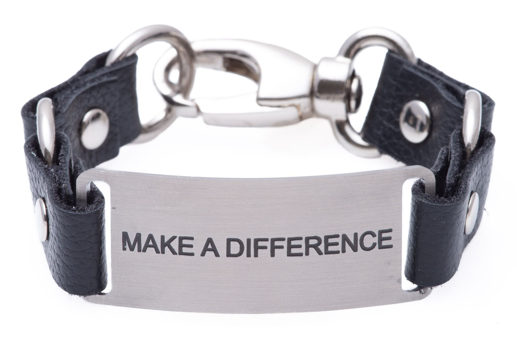 Message Bracelet Black Leather Make A Difference