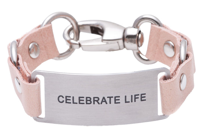 Message Bracelet Blush Pearlized Full Grain Leather