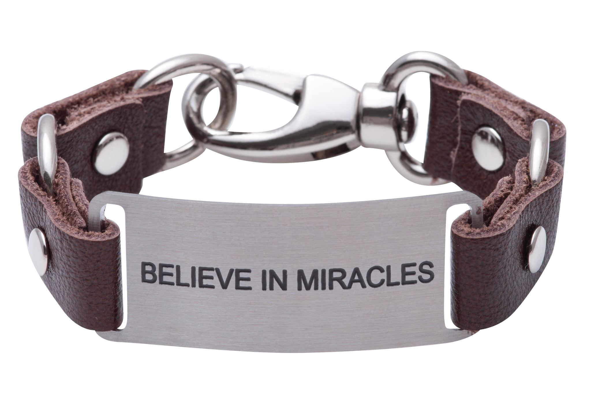 Load image into Gallery viewer, Message Bracelet Brown Leather Believe In Miracles