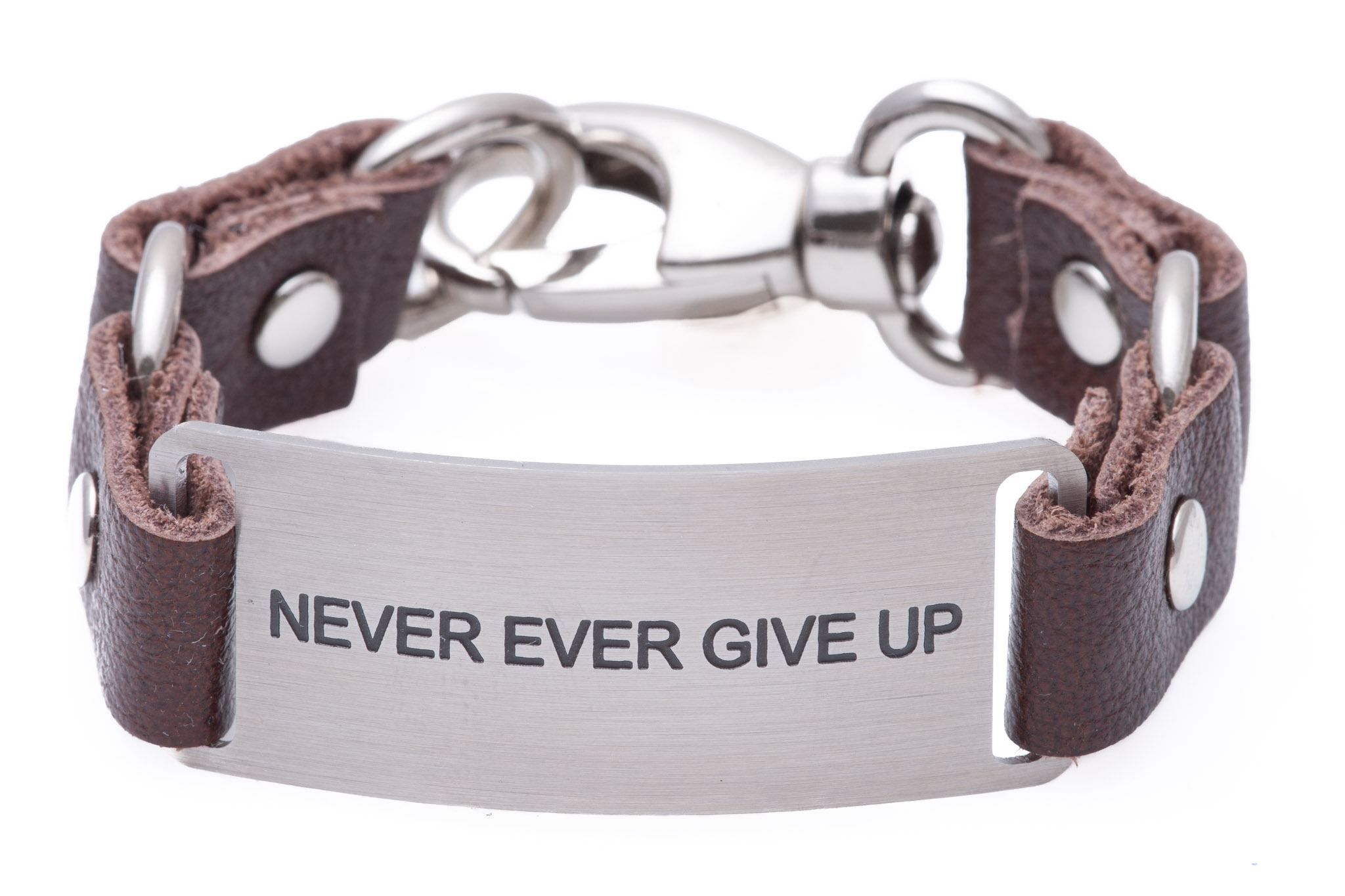 Load image into Gallery viewer, Message Bracelet Brown Leather Never Ever Give Up