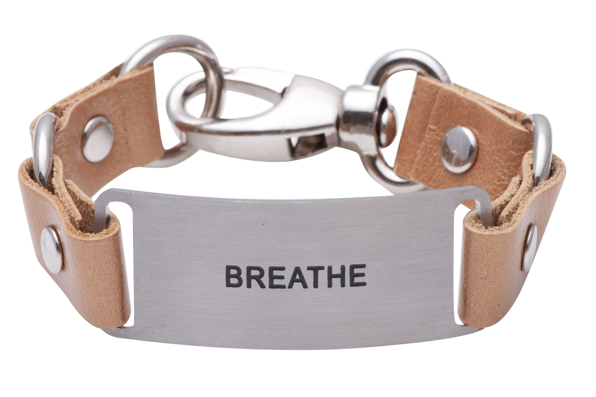 Message Bracelet Gold Leather Breathe