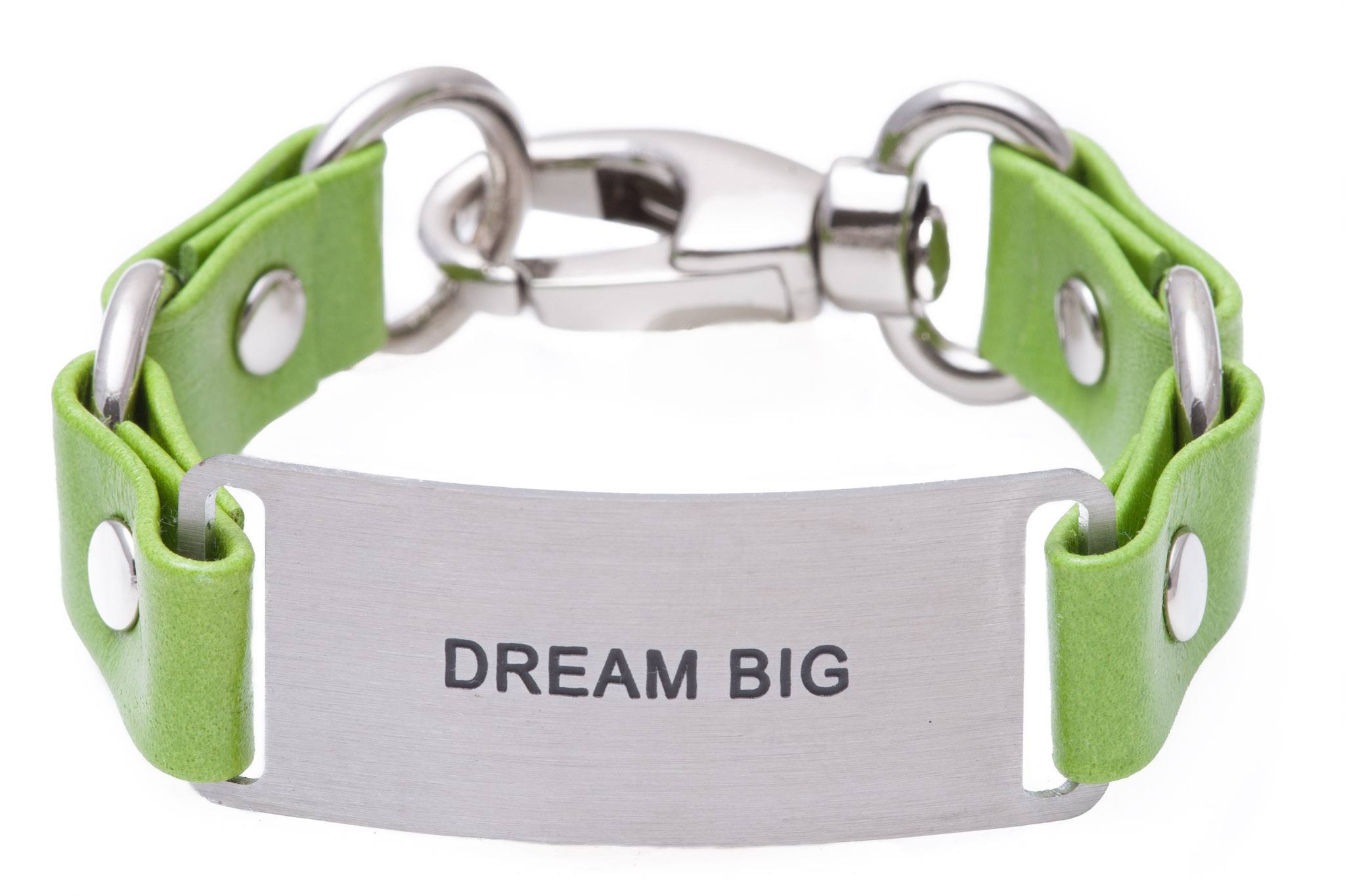 Load image into Gallery viewer, Message Bracelet Green Leather Dream Big