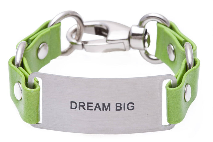 Message Bracelet Green Leather Dream Big