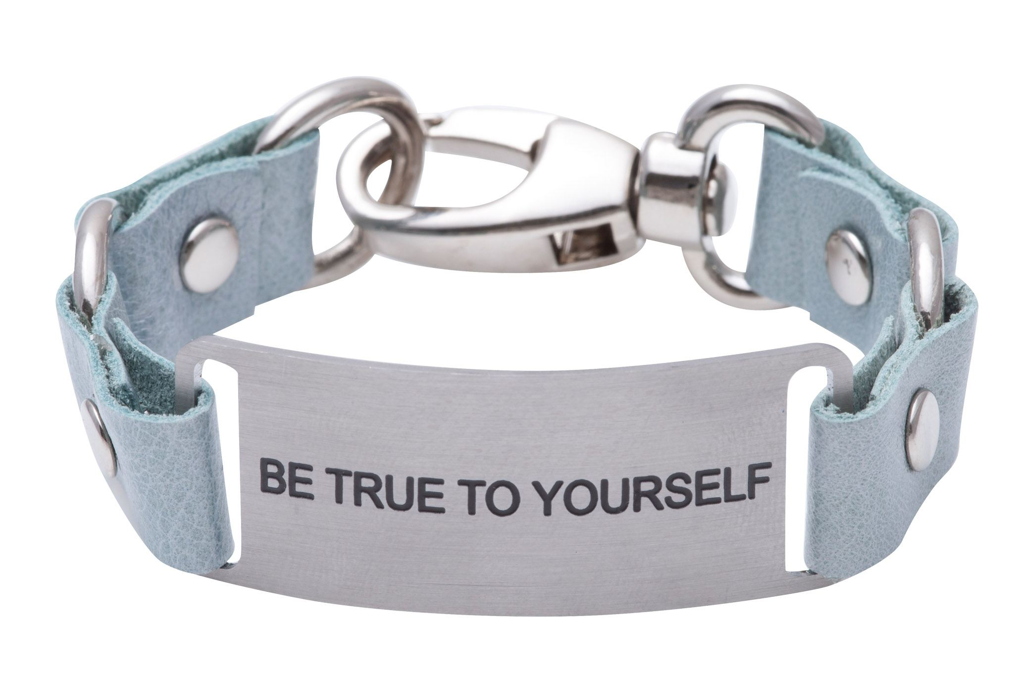 Load image into Gallery viewer, Message Bracelet Light Blue Leather Be True To Yourself