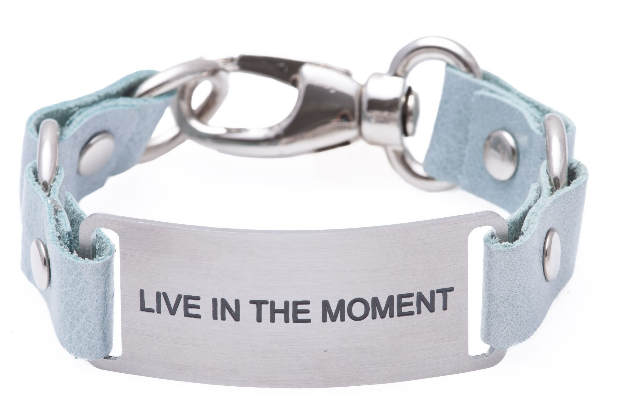 Message Bracelet Light Blue Leather Live In The Moment