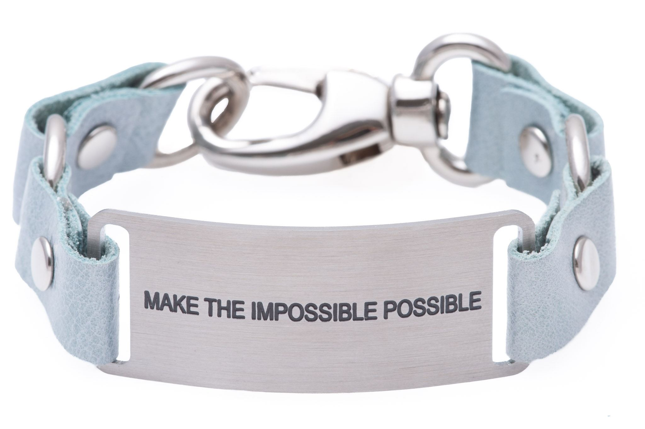 Load image into Gallery viewer, Message Bracelet Light Blue Leather Make The Impossible Possible