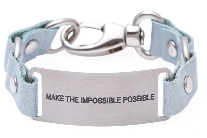 Message Bracelet Light Blue Leather Make The Impossible Possible
