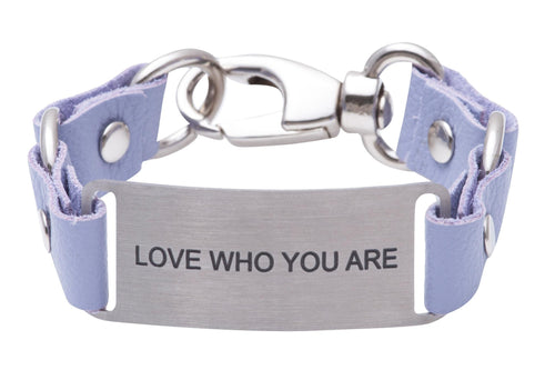 Message Bracelet Lilac Leather Love How You Are