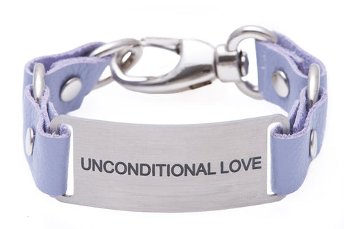 Message Bracelet Lilac Leather Unconditional Love