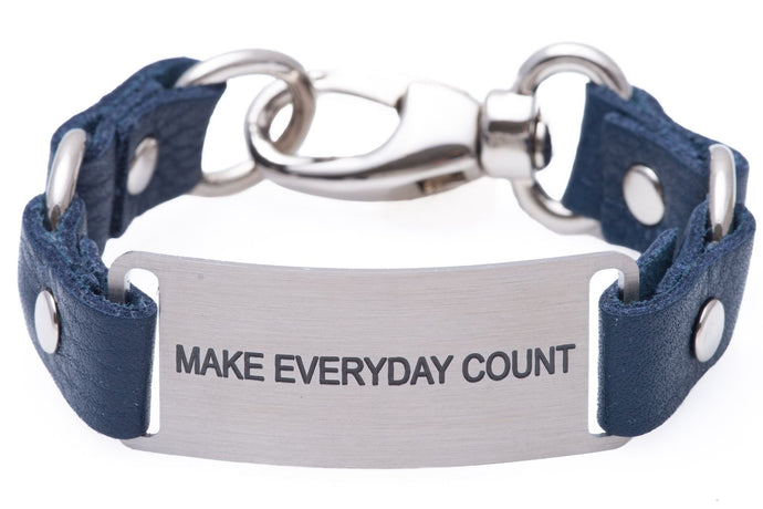 Message Bracelet Navy Blue Leather Make Everyday Count