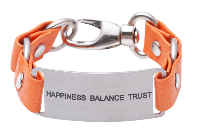 Message Bracelet Orange Leather Happiness Balance Trust