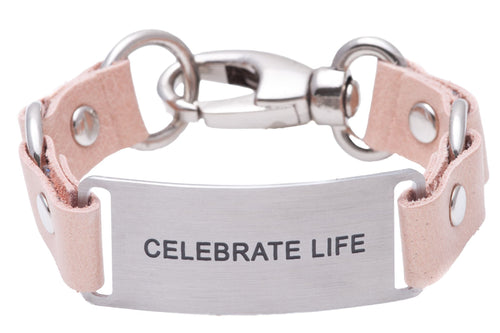 Message Bracelet Pink Leather Celebrate Life