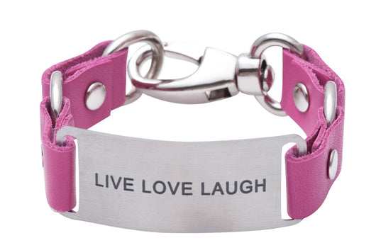 Message Bracelet Pink Leather Live Love Laugh