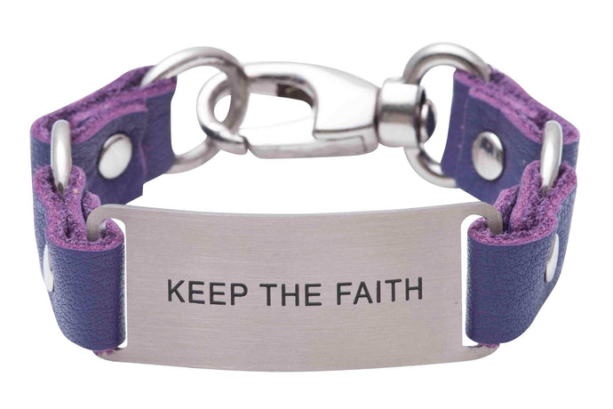 Message Bracelet Purple Leather Keep The Faith