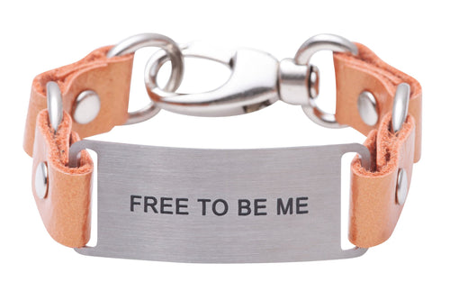 Message Bracelet Tangerine Leather Free To Be Me