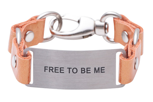 Message Bracelet Tangerine Pearlized Full Grain Leather