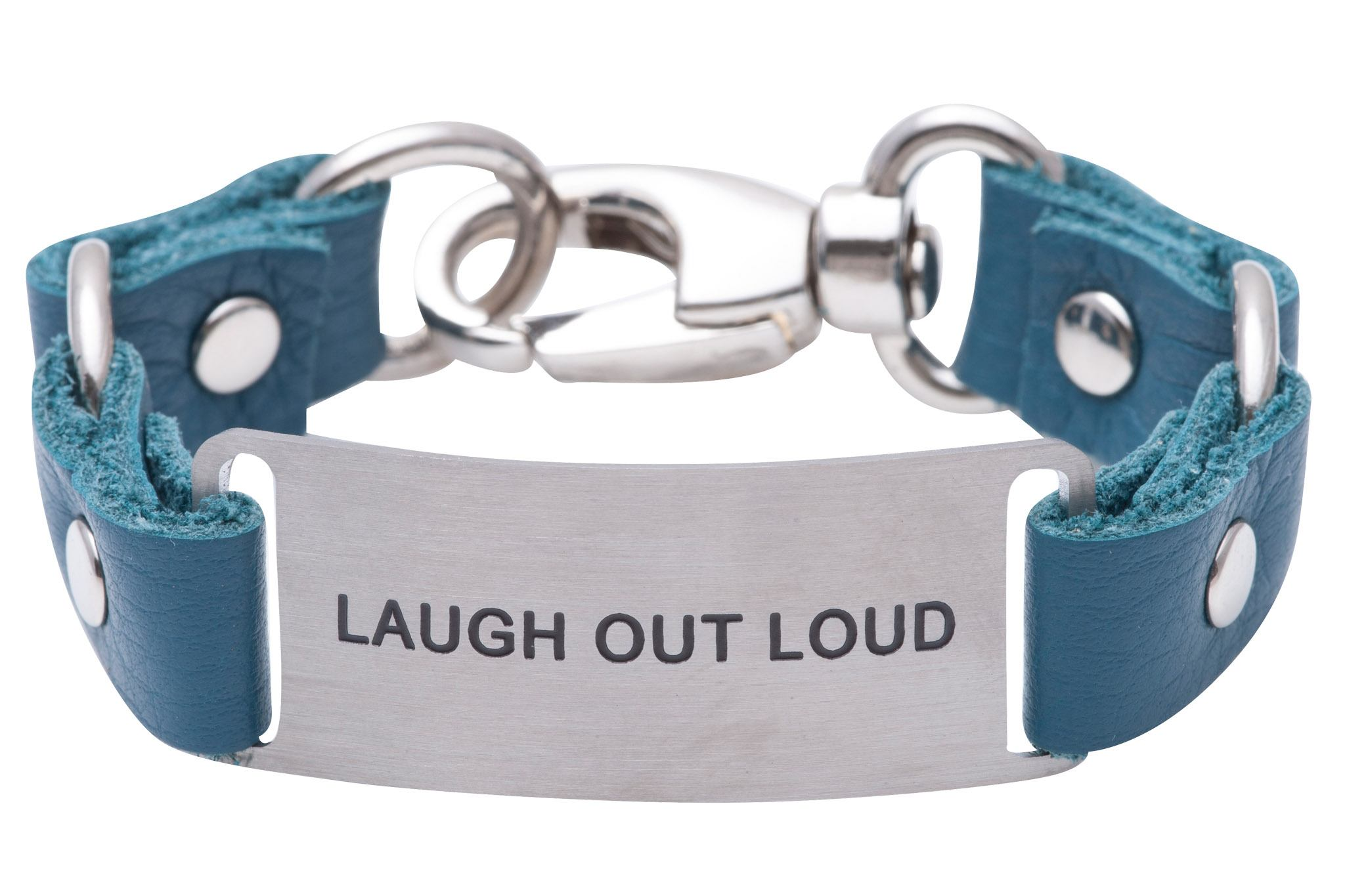 Load image into Gallery viewer, Message Bracelet Teal Leather Laugh Out loud