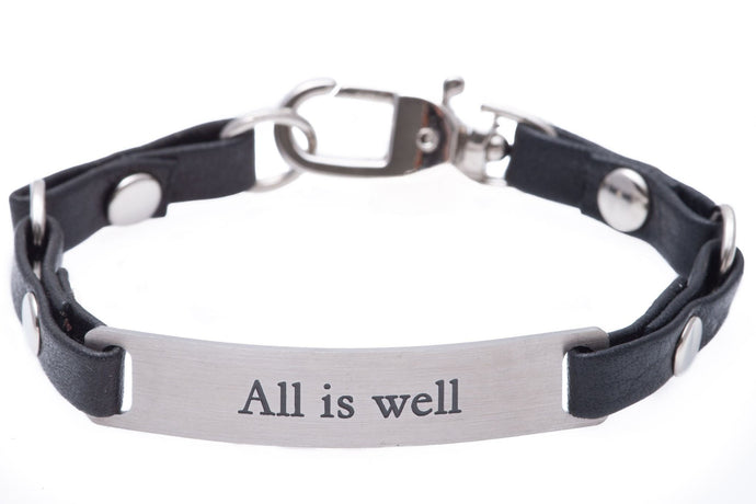 Mini Message Bracelet Black Leather All Is Well