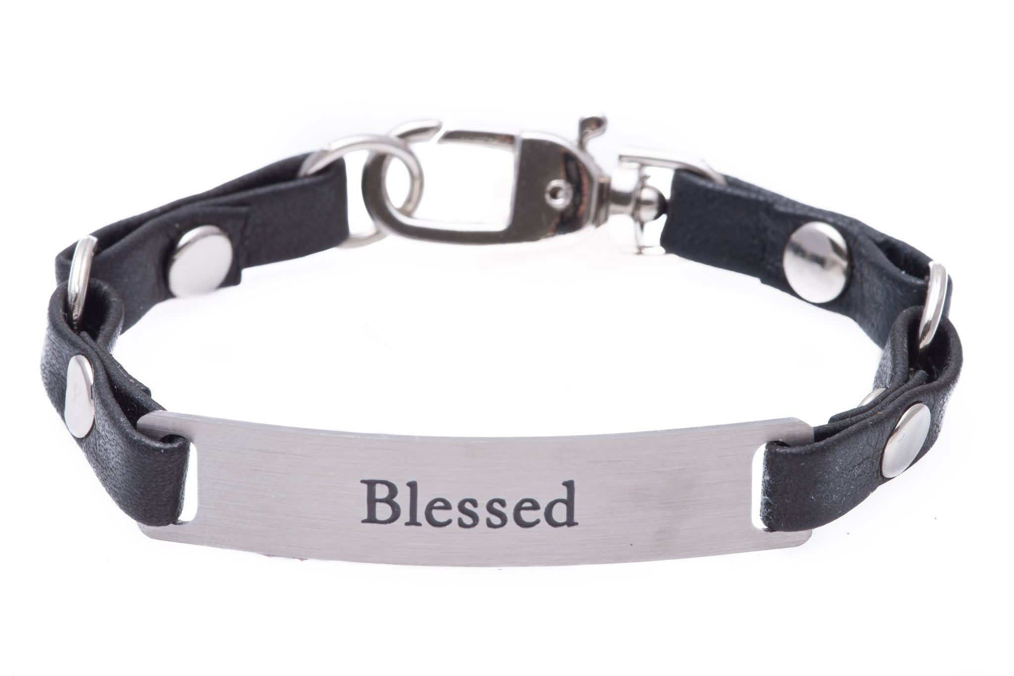 Mini Message Bracelet Black Leather Blessed