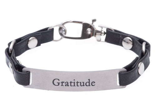 Mini Message Bracelet Black Leather Gratitude