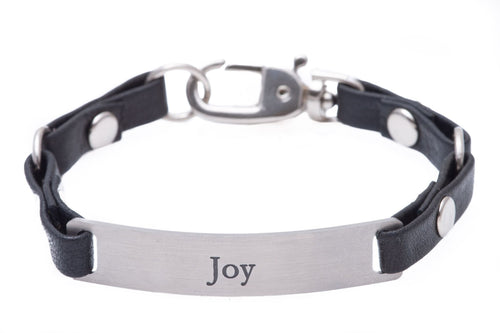 Mini Message Bracelet Black Leather Joy