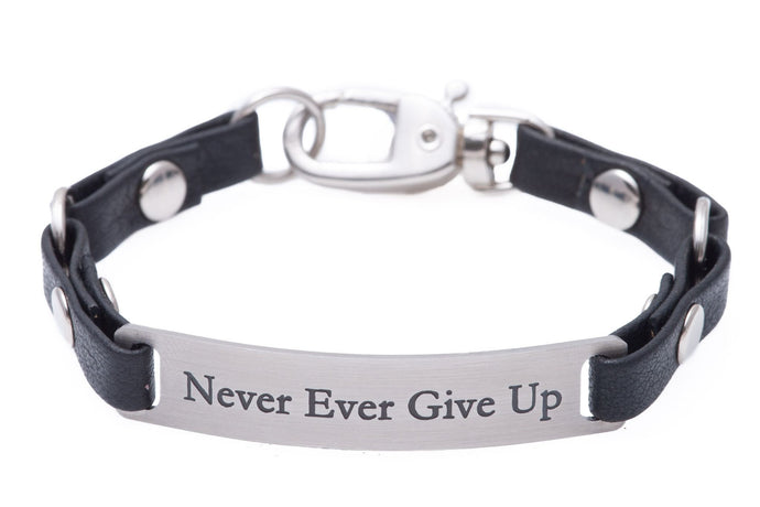 Mini Message Bracelet Black Leather Never Ever Give Up