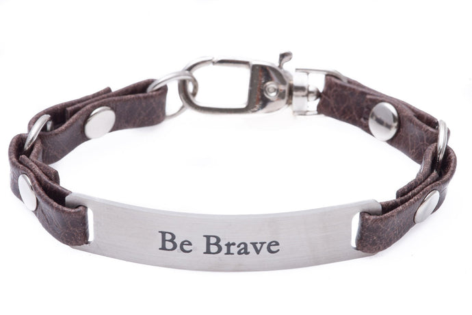 Mini Message Bracelet Brown Leather Be Brave