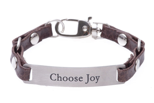 Mini Message Bracelet Brown Leather Choose Joy