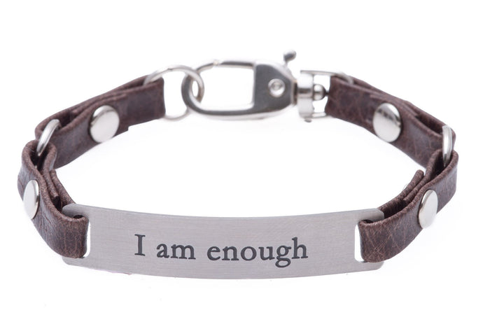 Mini Message Bracelet Brown Leather I Am Enough