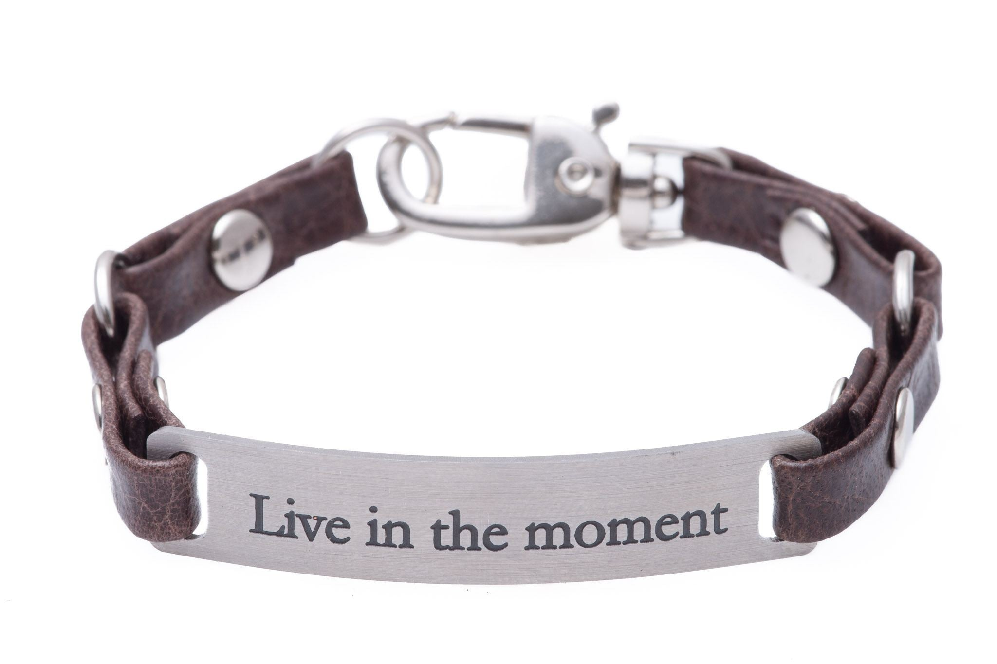 Mini Message Bracelet Brown Leather Live The Moment