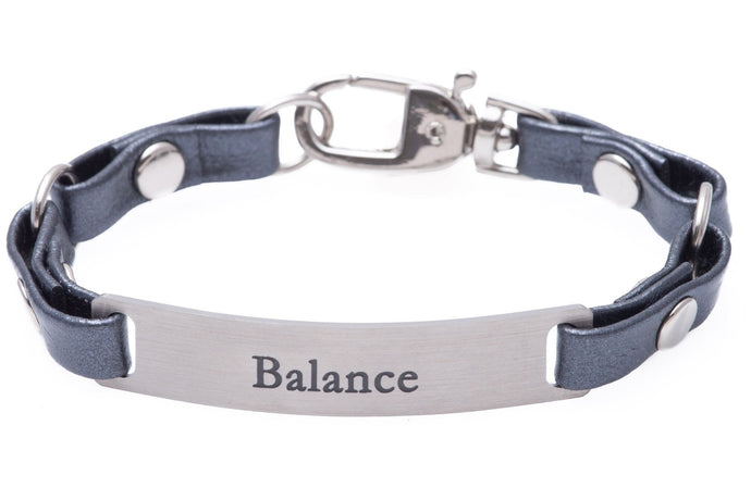 Mini Message Bracelet Gray Leather Balance