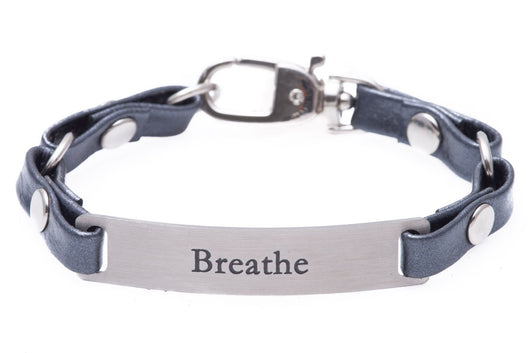 Mini Message Bracelet Gray Leather Breath