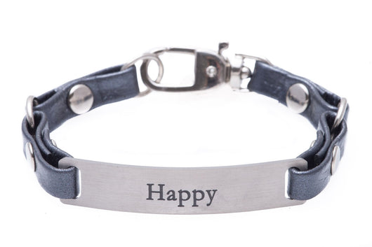 Mini Message Bracelet Gray Leather Happy