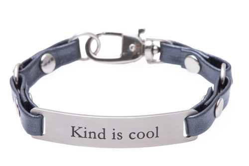 Mini Message Bracelet Gray Leather Kind Is Cool