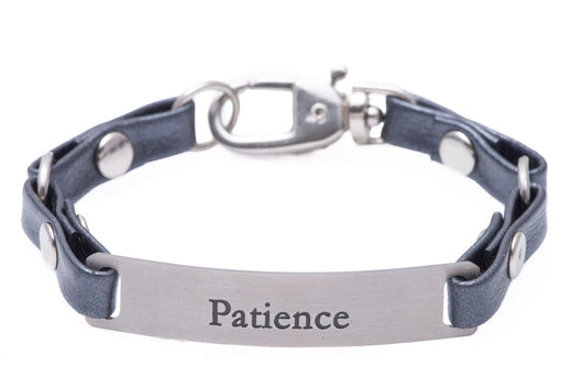 Mini Message Bracelet Gray Leather Patience