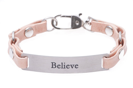 Mini Message Bracelet Pink Leather Believe