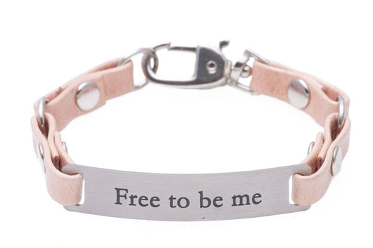 Mini Message Bracelet Pink Leather Free To Be Me