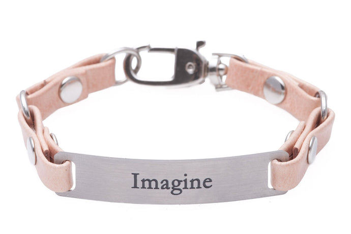 Mini Message Bracelet Pink Leather Imagine
