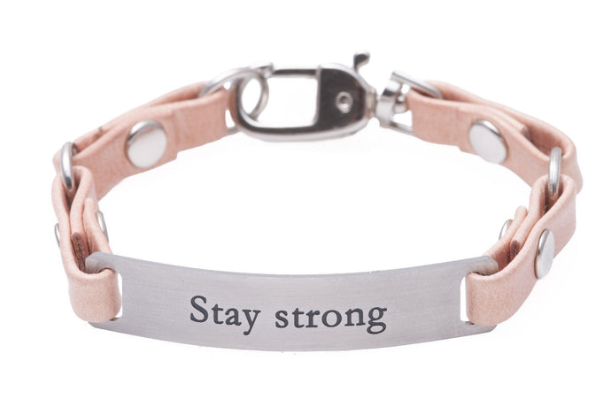 Mini Message Bracelet Pink Leather Stay Strong