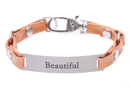 Mini Message Bracelet Tangerine Leather Beautiful
