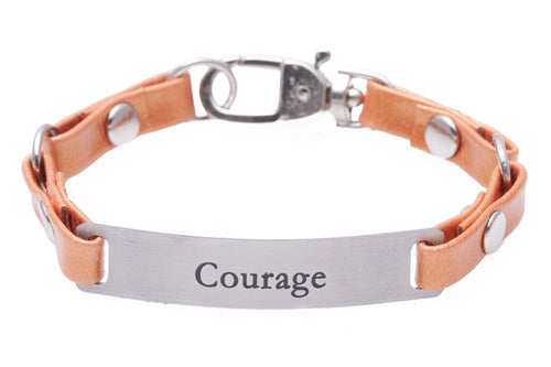 Mini Message Bracelet Tangerine Leather Courage