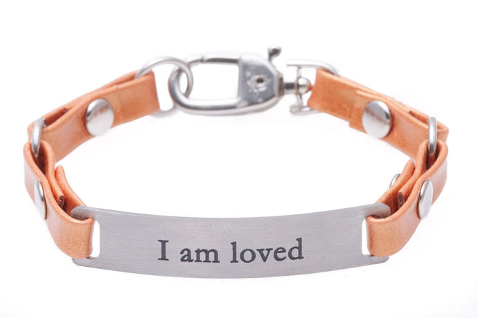 Mini Message Bracelet Tangerine Leather I Am Loved