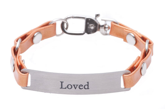 Mini Message Bracelet Tangerine Leather Loved