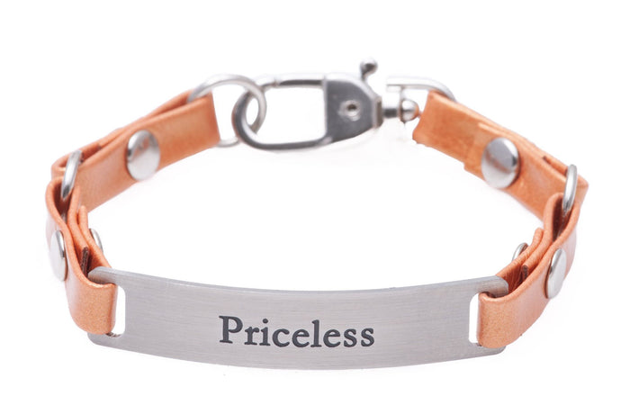 Mini Message Bracelet Tangerine Leather Priceless