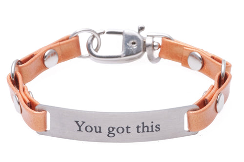 Mini Message Bracelet Tangerine Leather You Got This